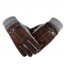 Перчатки мужские очень теплые  коричневые код 100