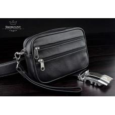 Мужская сумка, барсетка на пояс натуральная кожа польского производства