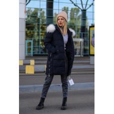 Модное зимнее пальто куртка с капюшоном, холофайбер. Черный, голубой. M, L, XL