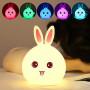 Детский 3D ночник Happy rabbit из силикагеля без проводов Аккумулятор 1200маH  сертификат качества. Распродажа!