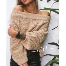 Теплый модный женский свитер с открытыми плечами, вязка. Универсальный размер 42-46, цвет: молочный, бежевый, чёрный,