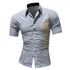 Рубашка мужская стильная короткий рукав с принтом (серая) код 124 размер М