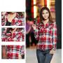 Рубашка женская в клеточку (красно-голубая) M-XL 8816-12