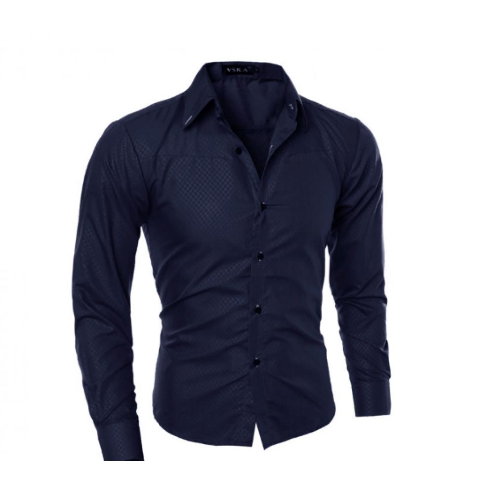 Рубашка в британксом стиле длинный рукав L  - ХL темно-синяя код 1