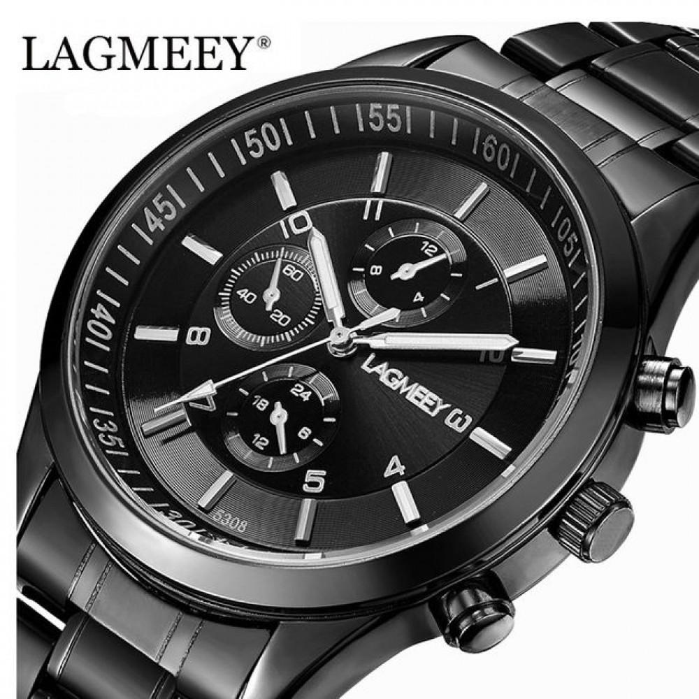 Часы наручные LAGMEEY Fort черные  кожаный ремешокВодонепроницаемые 5308