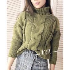 Стильный свитер крупной вязки с косами и объёмным горлом. Чёрный, белый, серый, горчица, пудра, бежевый и хаки. Р. 42-46