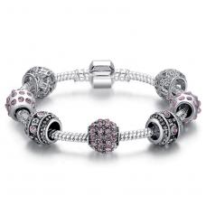 Женский браслет Fench Silver Plated pink crystal 3 Cеребристый (AJ_PS3005d19)