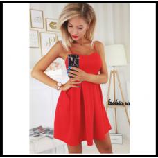 Шикарное коктейльное платье с корсетом , красное