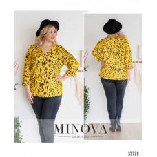 Женская стильная рубашка батал с ярким принтом-желтый