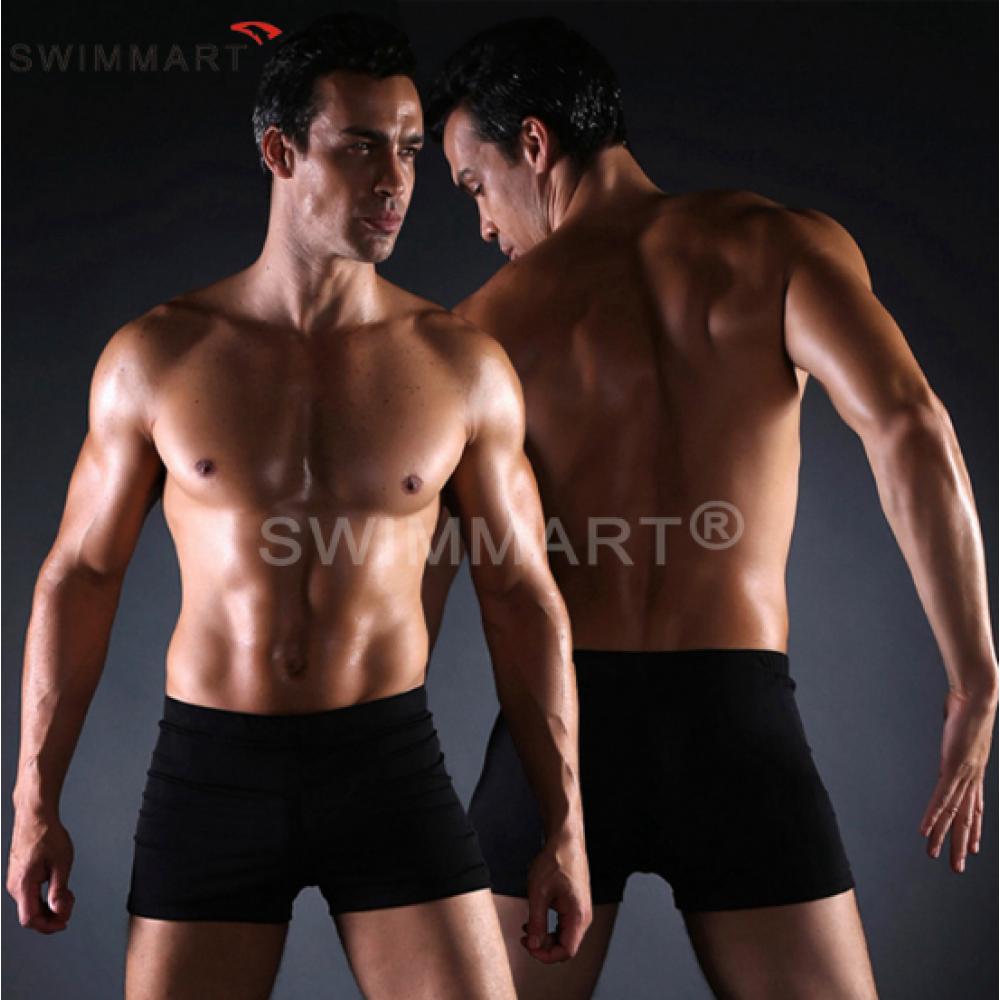 Плавки мужские купальные, трусы-боксеры для бассейна, пляжа (черный) код MS004