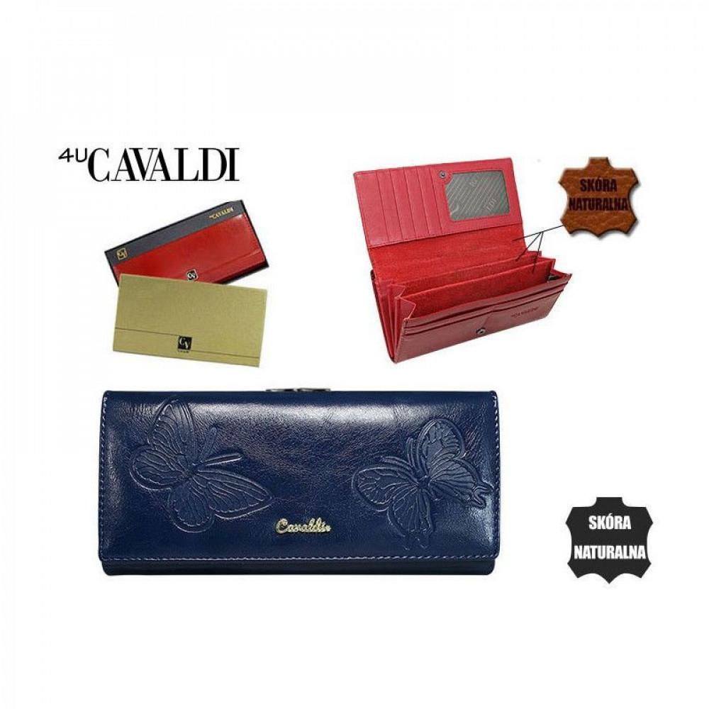 Женский кошелек Cavaldi натуральная кожа синий