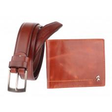Мужской кошелек + ремень кожа  Италия бред Rovicky коньячного цвета код 326
