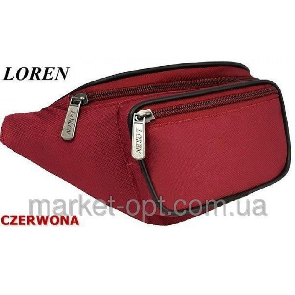 Мужская барсетка производство Польша  LOREN на пояс красная