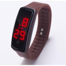 Наручные LED 555 часы браслет коричневый