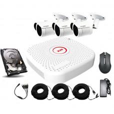 Уличный комплект AHD видеонаблюдения Longse 2M3N c 3 камерами 2 Мп + HDD 500Гб
