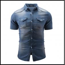 Рубашка мужская джинсовая с коротким рукавом  размеры М - L код 3306 синяя