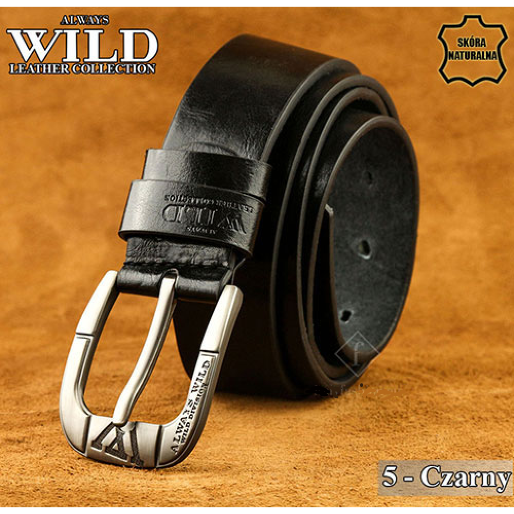 Стильный кожаный ремень Always Wild Польша black