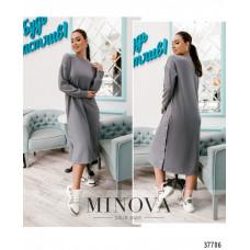 Женское повседневное платье батал-серый