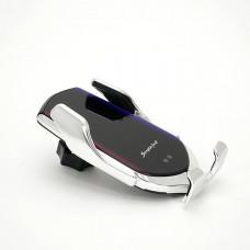 Автомобильное крепление для телефона с функцией беспроводной зарядки R2 Серебро