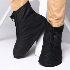 Бахилы для обуви от дождя снега грязи 2Life XL многоразовые с молнией и шнурком-утяжкой Черный (n-469)