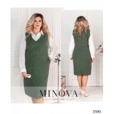 Женский костюм-двойка платье с рубашкой -зеленый