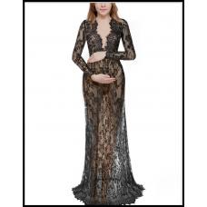 Длинное платье-пеньюар из кружева для фотосессии, на романтический вечер чёрный 303
