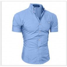 Рубашка мужская с коротким рукавом приталенная (голубой) код 52