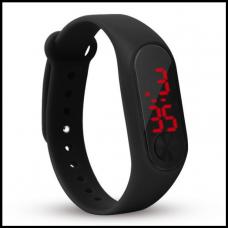 Наручные LED часы, браслет водонепроницаемый  чёрный