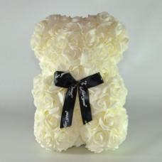 Мишка из роз Bear Flowers 27 см White (hub_FlqQ58747)