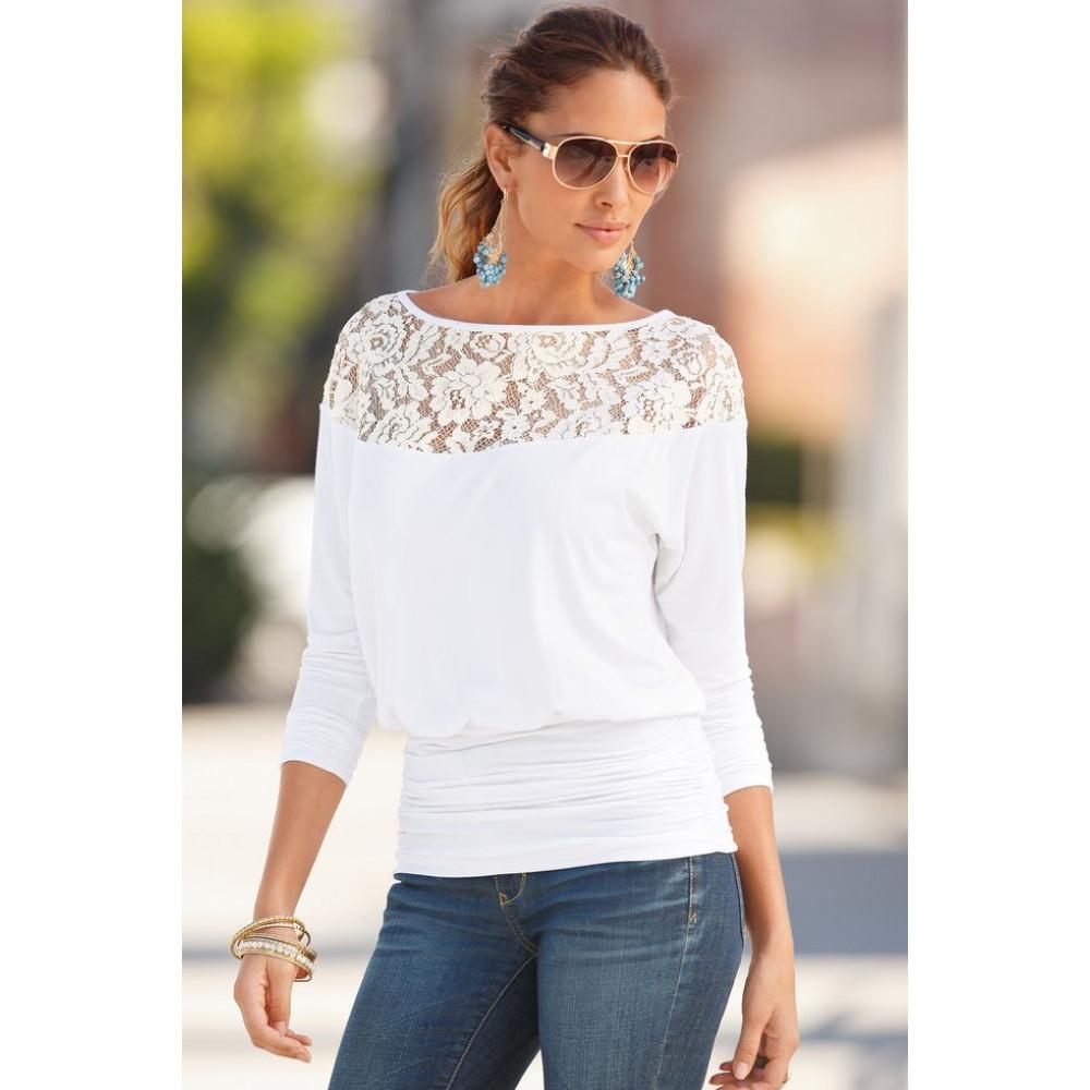 """Женская блузка с кружевом """"Vanessa"""" S, M, L (белая)"""