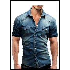 Рубашка мужская джинсовая с коротким рукавом размеры М - L