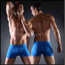 Плавки мужские купальные, трусы-боксеры для бассейна, пляжа (синие) код MS003