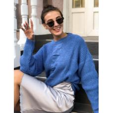 Женский объёмный вязаный свитер с узорами. Цвет синий и желтый. Р.42-44