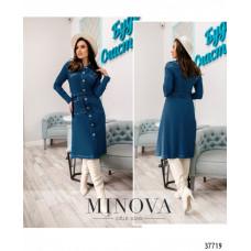 Женское платье на поясе джинсовое батал -голубой