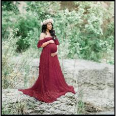 Платье-пеньюар из кружева для фотосессии, на романтический вечер Красный код 301