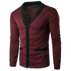 Свитер, кофта бордовый с карманами  M-XXL  код  112