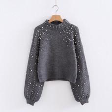Теплый серый вязаный свитер с бусинами. Размер 42-44