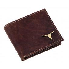 Мужской кошелек  Buffalo Wild с изображением быка Глянцевый из натуральной кожи