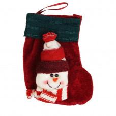 Сапожок для подарков Supretto со снеговиком и зеленой каймой Красный (5345-0003)