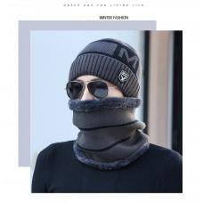 Мужская зимняя вязаная шапка  WXT  серая код 93