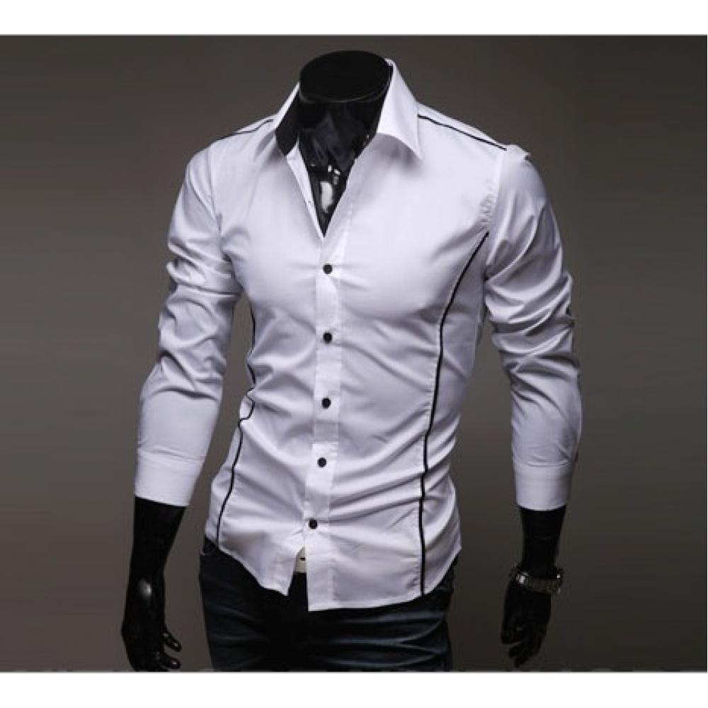 Мужская рубашка длинный рукав приталенная M, L, XL, XXL белая
