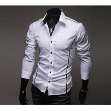 Мужская рубашка длинный рукав приталенная M, L, XL, XXL белая код 6