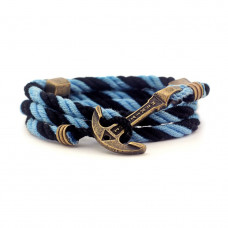 Браслет с якорем MARITIME Foggy Albion Чёрно-голубой (mt1211)