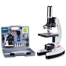 Детский оптический микроскоп AmScope школьный 120X-1200X  52 предмета в металлическом корпусе