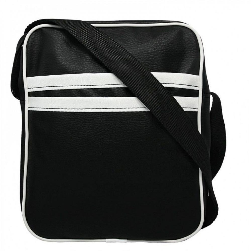 Мужская сумка черная с полосами производство Польша