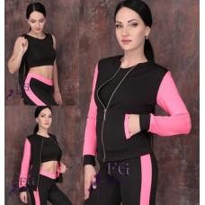 """Спортивный женский костюм-тройка """"Юджин"""" для тренировок ( леггинсы, топ, кофта), ткань дайвинг 42,44,46,48."""