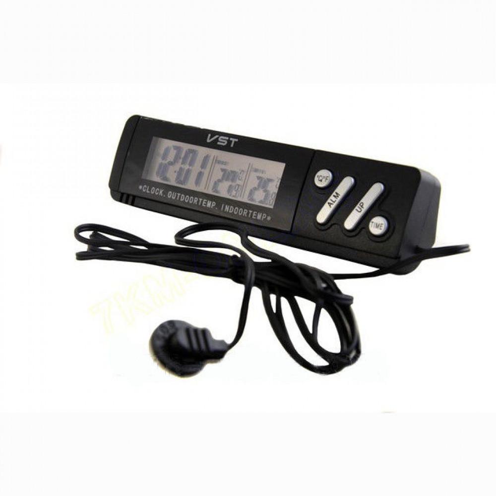 Авточасы VST 7067, часы для автомобиля с термометром