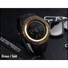 Военные тактические спортивные часы Skmei 1251 Кофе  с золотом Водонепроницаемость: 5ATM