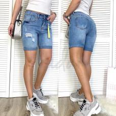 Шорты джинсовые женские с рванкой синие коттоновые 3714 New Jeans размер 25,  (Н) Распродажа!
