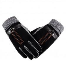 Перчатки мужские очень теплые  чёрные код 100